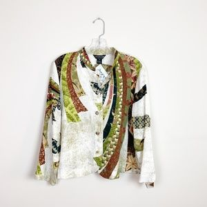 Citron | white printed button front blouse PL